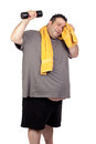 Fat man playing sport Royalty Free Stock Image