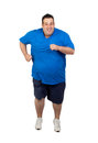 Fat man running Stock Photo
