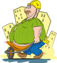 Fat man vector illustration of worker who drives his belly Royalty Free Stock Images