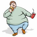 Fat man walk and eat very big sandwich drink Royalty Free Stock Photos
