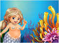 A fat mermaid under the sea near the coral reefs illustration of Royalty Free Stock Images