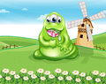 A fat monster at the hilltop with a spiral lollipop candy illustration of Royalty Free Stock Images