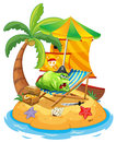 A fat monster relaxing at the beach illustration of on white background Royalty Free Stock Photo