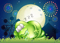 A fat monster sleeping at the carnival in the middle of the nigh illustration night Royalty Free Stock Photo