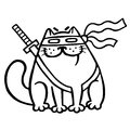Fat ninja cat in a mask and a sword behind him. Isolated vector illustration.