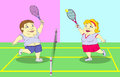 Fat people playing tennis on the court Royalty Free Stock Photo