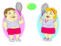 Fat people playing tennis Royalty Free Stock Photo