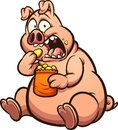 Fat pig eating chips with a surprised look on its face