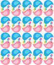 Fat pink and blue spring birds pattern background seamless of girl boy baby happy Royalty Free Stock Images