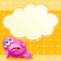 A fat pink monster with an empty cloud template at the back illustration of Stock Photo