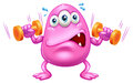 A fat pink monster exercising illustration of on white background Royalty Free Stock Photography