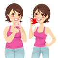 Fat And Slim Woman Diet Stock Photo