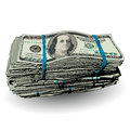 A fat stack of 100 dollar bills Royalty Free Stock Photo