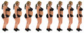 Fat to slim woman weight loss transformation profile shot Royalty Free Stock Photo