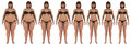 Fat to thin weight loss transformation of a white girl steps overweight woman losing her as she becomes fit wearing bikini Royalty Free Stock Photography