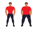 Fat vs slim man. Healthy Sport athletic body comparing to unhealthy. Flat vector illustration