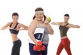 Fat woman on diet doing fitness exercise women with slim sporty girls Stock Photography
