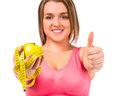 Fat woman dieting the concept of healthy eating isolated on a white background Royalty Free Stock Photography