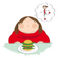 Fat woman with hamburger, dreaming about slim figure