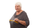 Fat woman measuring breast isolated over white background Royalty Free Stock Images
