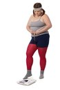 Fat woman measuring waistline and weight Royalty Free Stock Photo