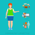 Fat woman unhealthy lifestyle vector infographic: diet, sport Royalty Free Stock Photo
