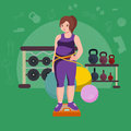 Fat woman. Young pretty cartoon style fitness girl in gym.