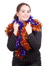 Fat young woman and Christmas chains Royalty Free Stock Photo
