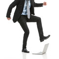 Fatal error businessman stomping on his laptop Stock Images