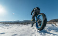 Fatbike x fat bike or fat tire bike x also called cycling on large wheels teen rides a bicycle through the snow mountains in the Royalty Free Stock Photos