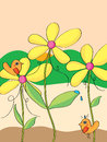 Fate bird illustration abstract yellow flower landscape background Royalty Free Stock Photo