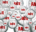Fate word clocks destiny time moving forward destined outcome re on d in toward an eventual unavoidable or result Royalty Free Stock Photos