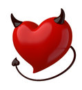 Fateful love devil heart isolated on white Stock Images