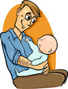 Father with baby cartoon illustration of his cute Stock Photos