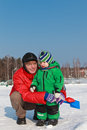 Father baby winter Stock Photography