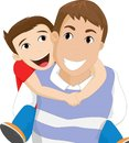 Father carrying his son Royalty Free Stock Photo