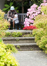 Father and child at garden Royalty Free Stock Images