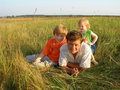Father with children outdoor Stock Photography
