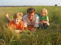 Father with children outdoor Royalty Free Stock Photo