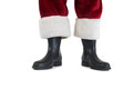 Father Christmas boots and legs Royalty Free Stock Photo