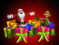 Father Christmas With Elf And Presents Royalty Free Stock Images