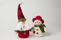 Father christmas and snowman isolated on a white backgound Stock Photos
