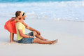 Father and daughter at beach enjoying holiday vacation Royalty Free Stock Images