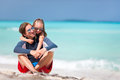 Father and daughter at beach his adorable little Stock Photography