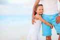 Father and daughter at beach his adorable little tropical Royalty Free Stock Photography