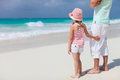 Father and daughter at beach his adorable little tropical Stock Photography