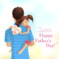 Father and daughter easy to edit vector illustration of holding in s day Stock Image
