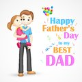 Father and daughter in in father s day illustration of holding his arm Royalty Free Stock Images