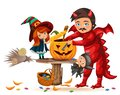 Father and daughter making Hallows pumpkin poster. Cartoon dad with child dressed in mystic costume of witch and dragon