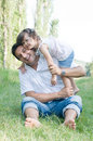 Father and daughter outdoor Royalty Free Stock Photo